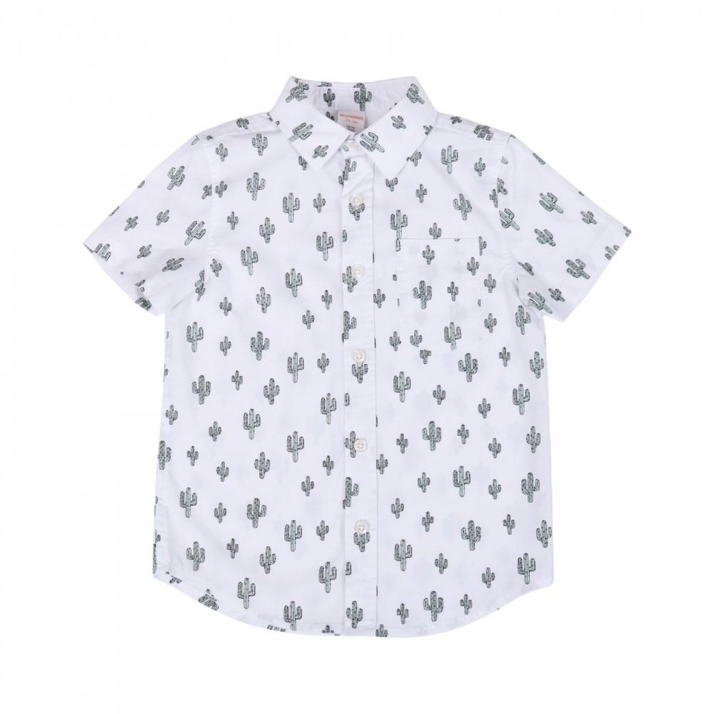 پیراهن آستین کوتاه سفید پسرانه طرح کاکتوس | GYMBOREE