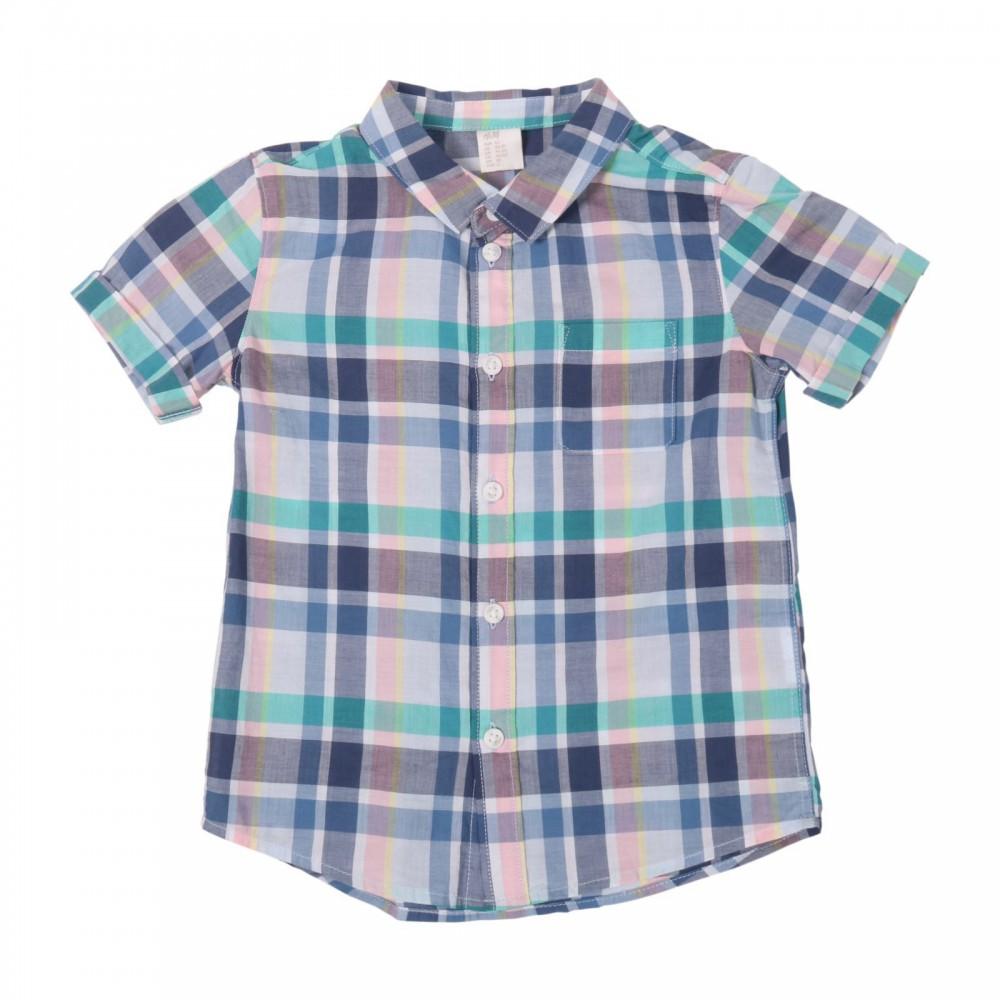 پیراهن آستین کوتاه چهارخانه پسرانه اچ اند ام | H&M