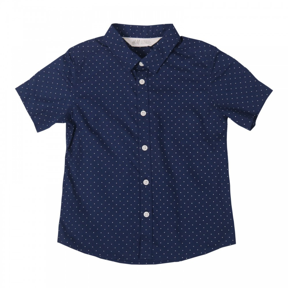پیراهن آستین کوتاه سرمه ای خال خالی پسرانه اچ اند ام | H&M
