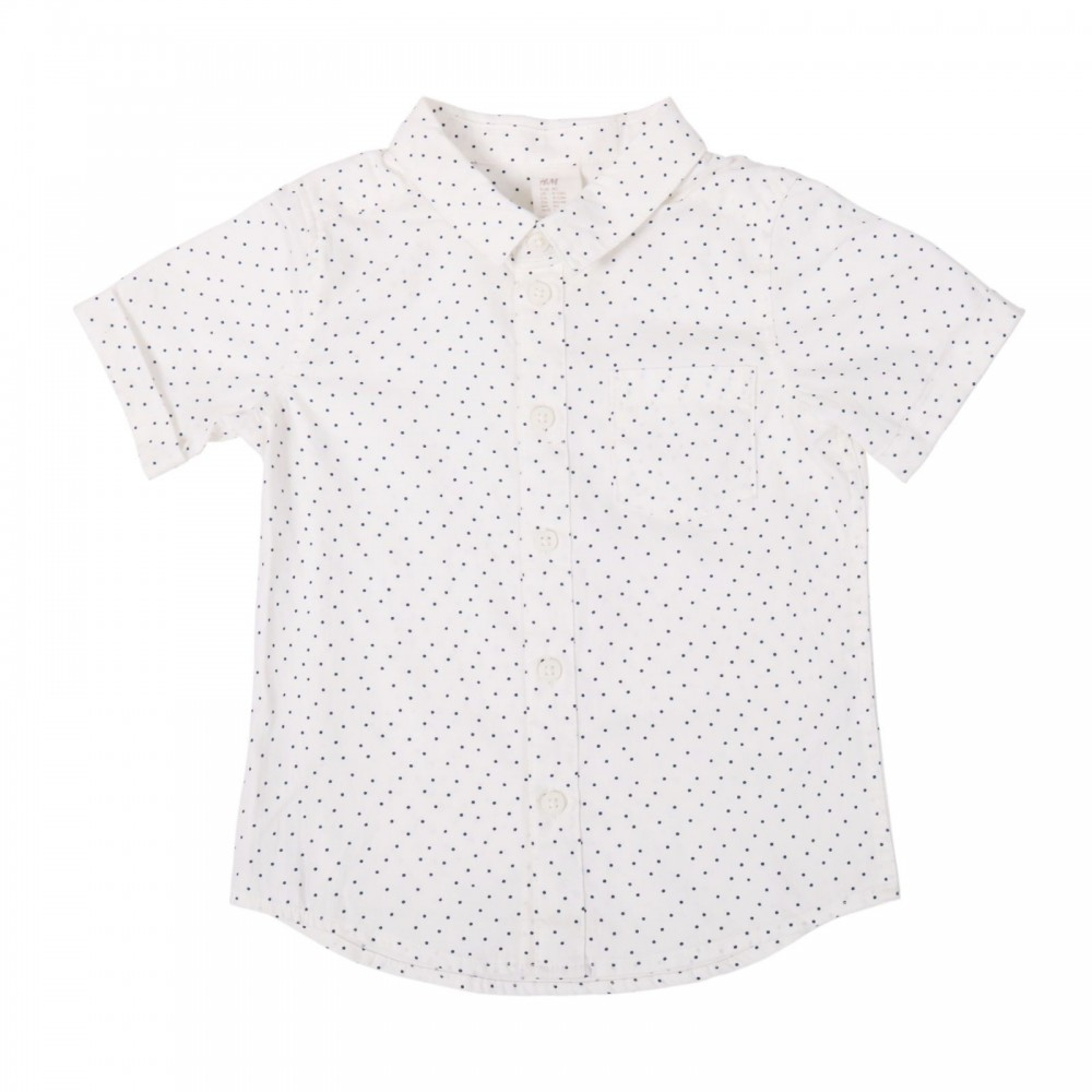 پیراهن آستین کوتاه سفید خال خالی پسرانه اچ اند ام | H&M