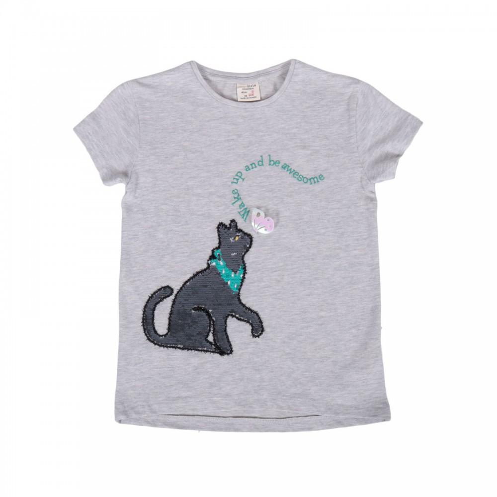 تیشرت بچگانه دخترانه طرح گربه پولکی کوتون | KOTON