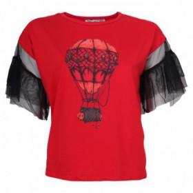 تیشرت یقه گرد طرحدار قرمز زنانه | BABY LADY