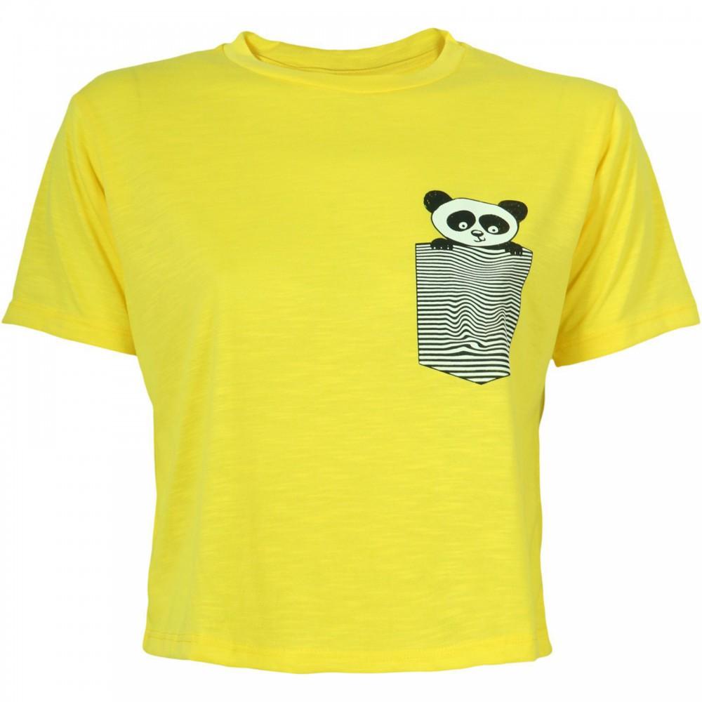 تیشرت یقه گرد طرحدار زرد زنانه | DF YOUNG