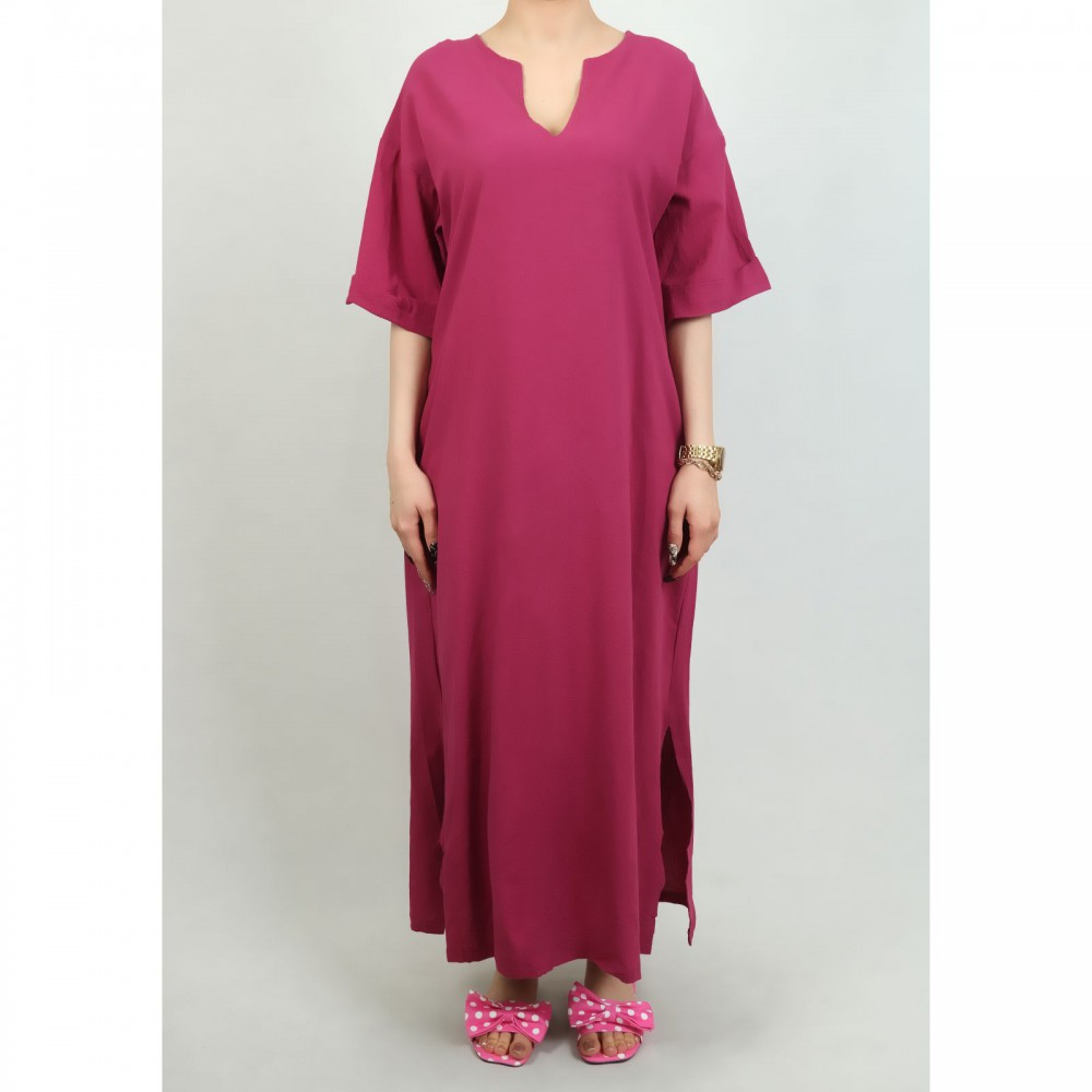 پیراهن بلند جیبدار یقه ترکیبی زنانه