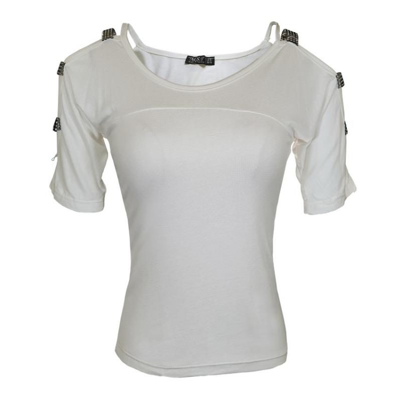 تیشرت یقه گرد سفید زنانه | MSI
